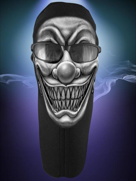 Picture of Wicked Wear Face Masks - Clown B&W